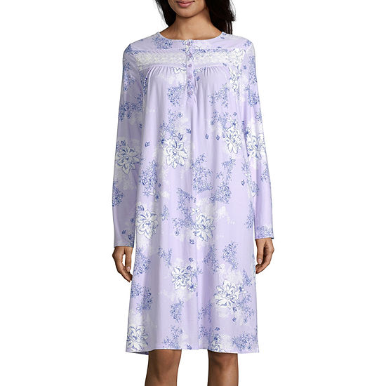 Adonna Womens Petite Long Sleeve Round Neck Nightgown