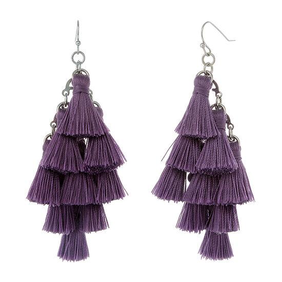 Mixit Purple Fringe Drop Earrings