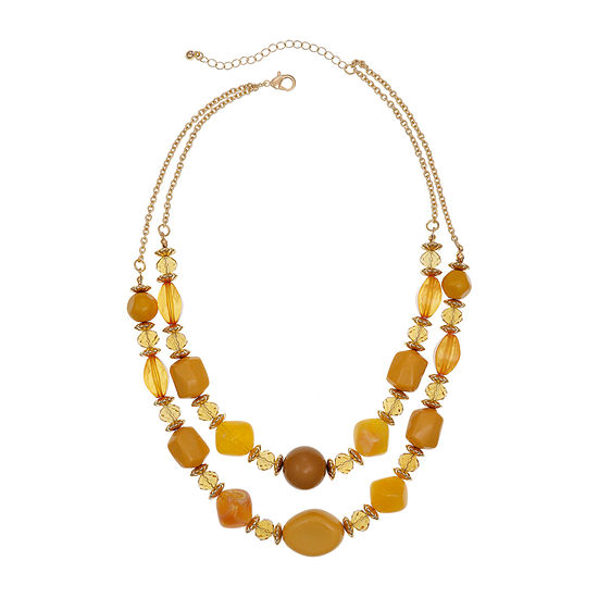 Mixit Mustard 18 Inch Cable Beaded Necklace