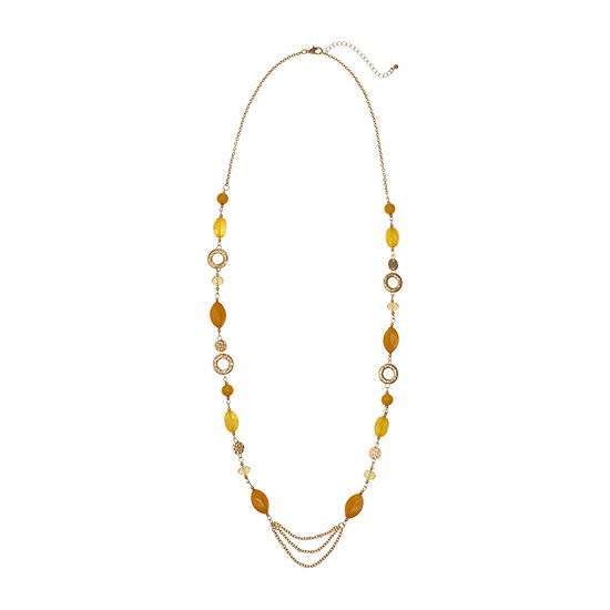 Mixit Mustard 36 Inch Cable Beaded Necklace