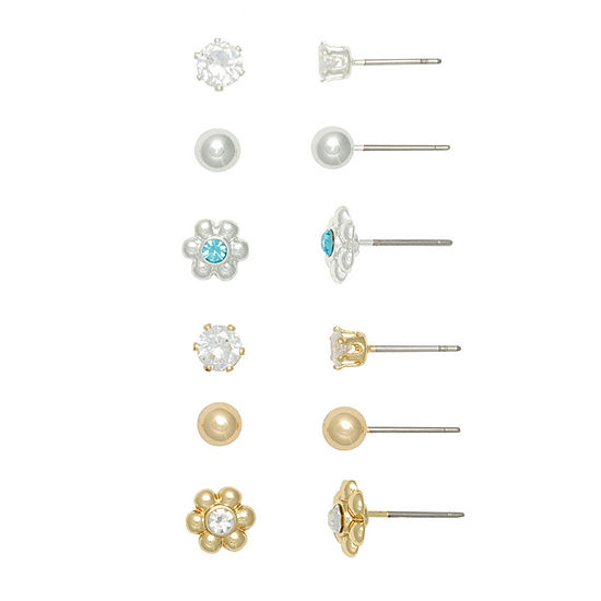 Mixit 6 Pair Flower Earring Set