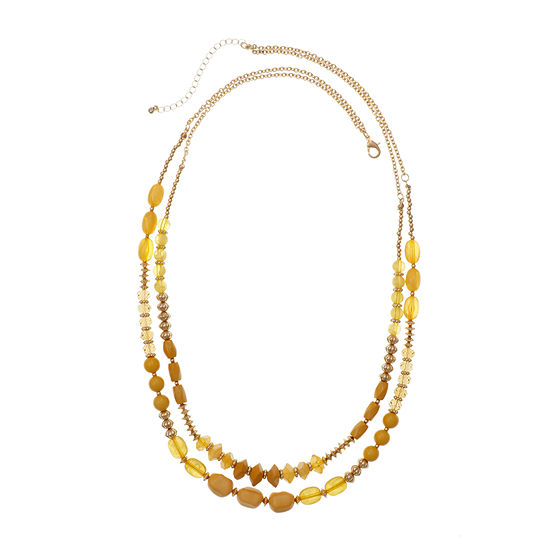 Mixit Mustard 29 Inch Cable Beaded Necklace