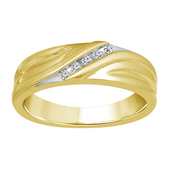 Diamond Accent Genuine Yellow Diamond 10K Gold Wedding Band