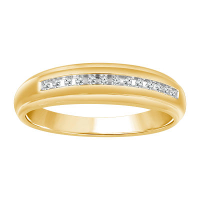 Mens 1/10 CT. T.W. Genuine White Diamond 10K Gold Wedding Band