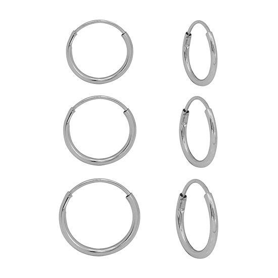 10K White Gold 3 Pair Earring Set