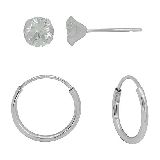 White Cubic Zirconia 10K White Gold 2 Pair Earring Set