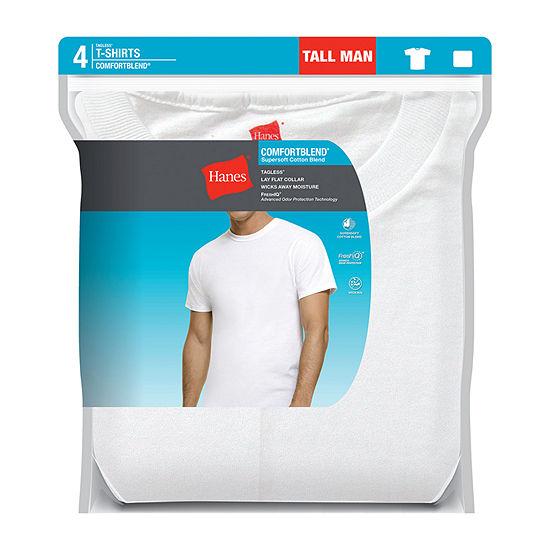 Hanes 4 Pack Short Sleeve Crew Neck T-Shirt-Tall