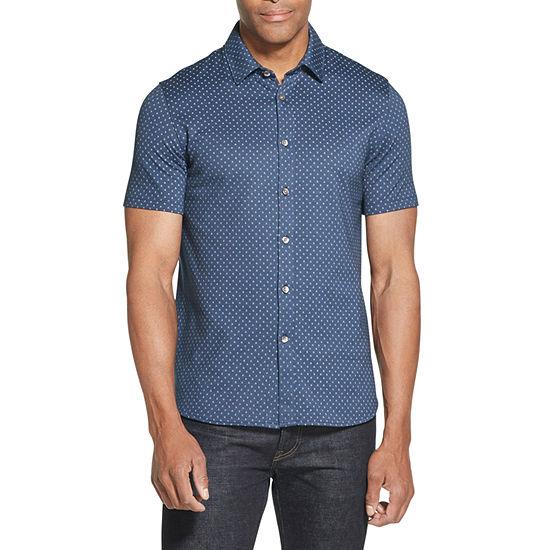 Van Heusen Big and Tall Never Tuck Coat Front Mens Short Sleeve Button-Front Shirt