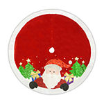 Kurt Adler Red And White Applique Santa Tree Skirt