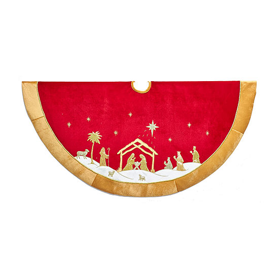 Kurt Adler Red And Gold Religious Tree Skirt
