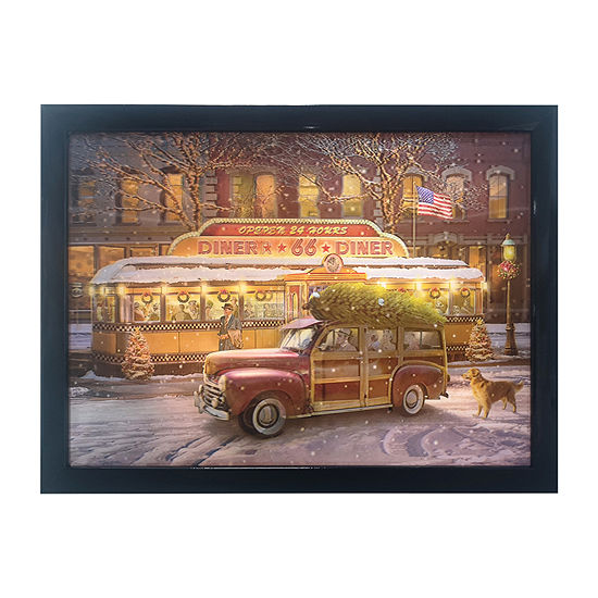 Kurt Adler Battery-Operated 3d Led Framed Christmas Diner And Car Wall Sign