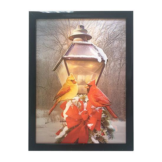 Kurt Adler Battery-Operated 3d Led Framed Christmas Cardinals On Lamp Post Wall Sign