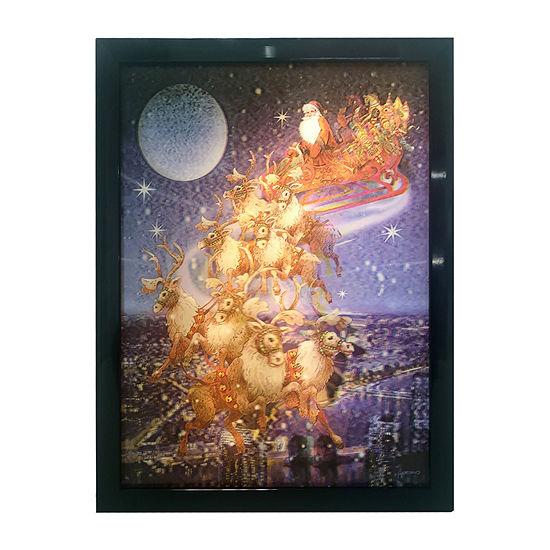 Kurt Adler Battery-Operated 3d Led Framed Christmas Santa And Sled Wall Sign