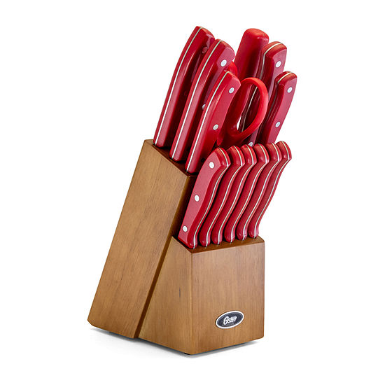 Oster Evansville 14 piece Stainless Steel Cutlery Set with Red Plastic Handle and Black Rubber Wood Block