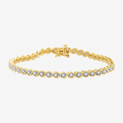 1 CT. T.W. Genuine White Diamond 10K Gold 7.5 Inch Tennis Bracelet