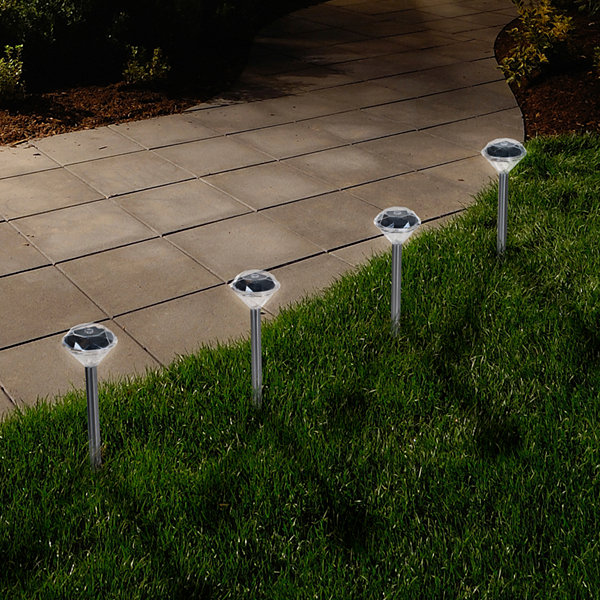 Pure Garden Set of 24 Solar LED Outdoor Diamond Pathway Lights