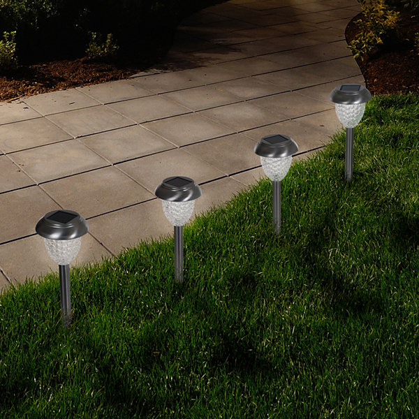 Pure Garden Set of 6 Solar LED Outdoor Honeycomb Glass Pathway Lights