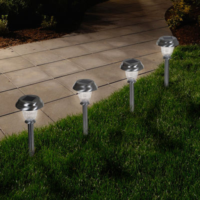Pure Garden Set of 6 Solar LED Outdoor Classic Glass Pathway Lights