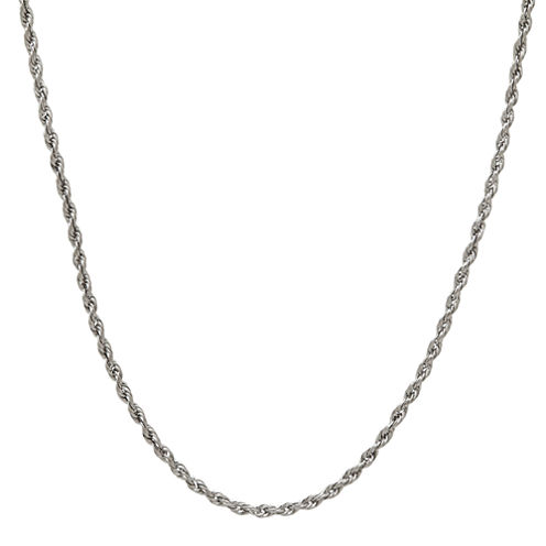 14K White Gold Rope Chain Necklace