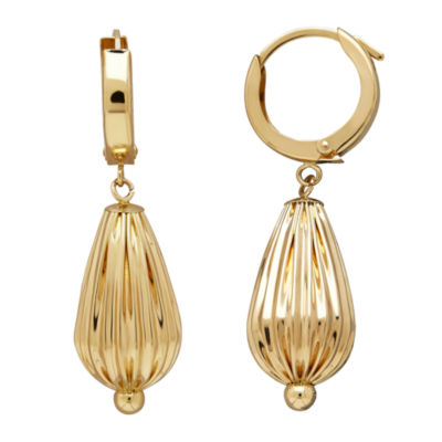 LIMITED QUANTITIES! 14K Yellow Gold Polished Corrugated Teardrop Earrings