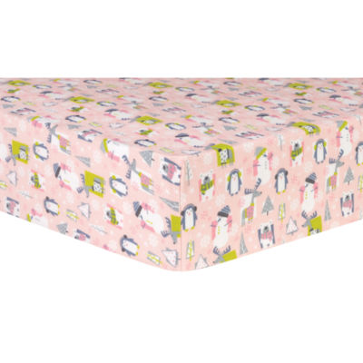 Trend Lab Snow Pals Pink Flannel  Crib Sheet