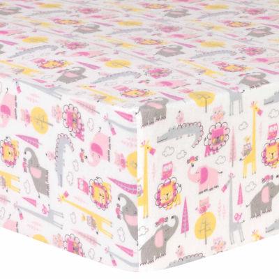 Trend Lab Pink Animal Safari Flannel  Crib Sheet