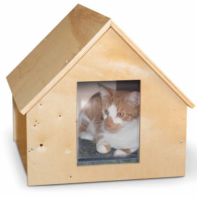 "K & H Manufacturing Birchwood Manor Unheated Kitty House Wood 18"" x 16"" x 15"""