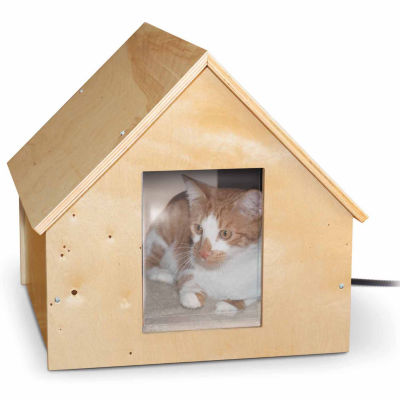 "K & H Manufacturing Birchwood Manor Heated Thermo-Kitty House Wood 18"" X 16"" X 15"" 25 Watts"