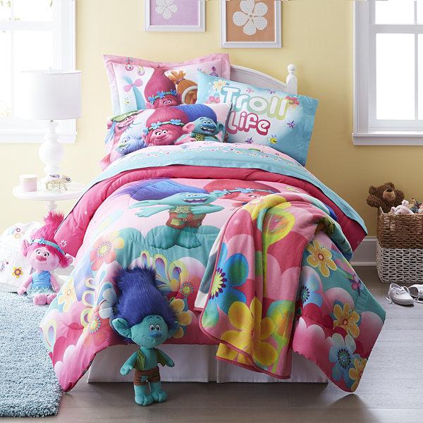 Trolls Reversible Twin Full Comforter Bonus Sham