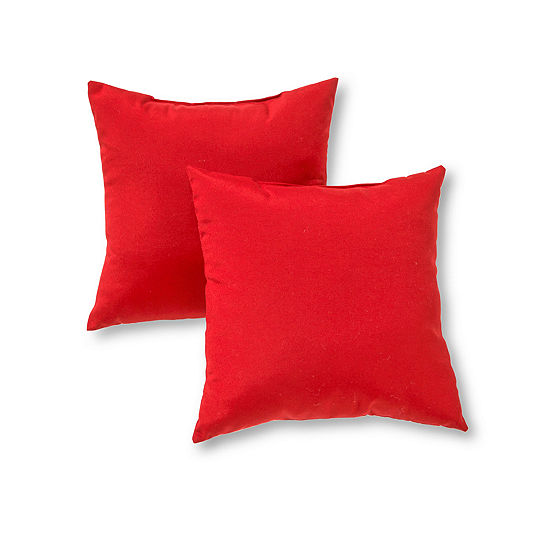Greendale Home Fashions Square Solid Outdoor Accent Pillows - Set of 2