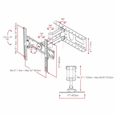 "Full Motion 46"" Max TV Wall Mount"