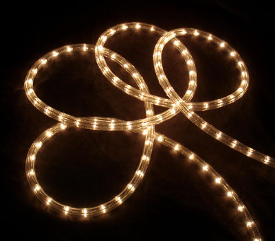 "102' Clear Indoor/Outdoor Christmas Rope Lights with 1"" Bulb Spacing"""