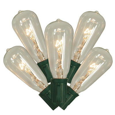 Set of 10 Transparent Clear St40 Edison Style Christmas Lights with Green Wire