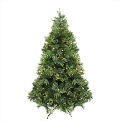 """7.5' x 55"""" Pre-Lit Cashmere Mixed Pine ArtificialChristmas Tree with Warm White LED Lights"""""""