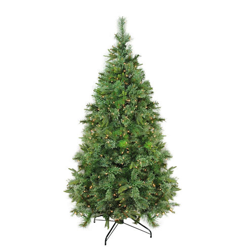 "7.5' x 55"" Pre-Lit Cashmere Mixed Pine Full Artificial Christmas Tree with Clear Dura Lights"""