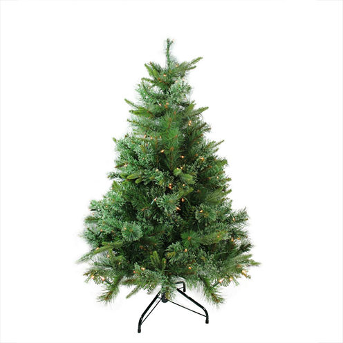 """4.5' x 37"""" Pre-Lit Cashmere Mixed Pine Full Artificial Christmas Tree with Clear Dura Lights"""""""