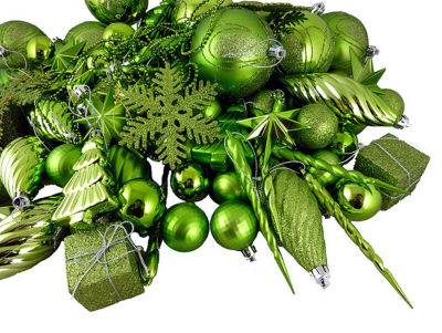 125-Piece Club Pack of Shatterproof Tropical GreenKiwi Christmas Ornaments