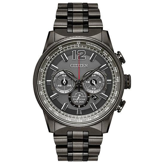Citizen Nighthawk Mens Gray Stainless Steel Bracelet Watch-Ca4377-53h