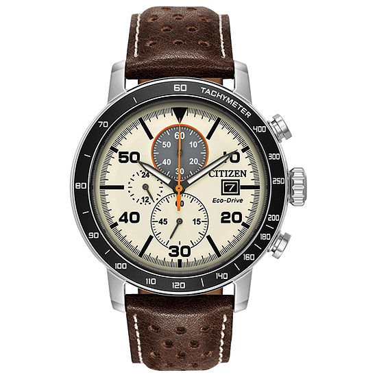 Citizen Brycen Mens Brown Leather Strap Watch-Ca0649-06x