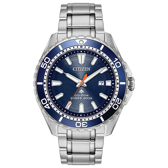 Citizen Promaster Diver Mens Silver Tone Stainless Steel Bracelet Watch - Bn0191-55l
