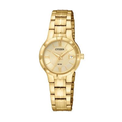 Citizen Quartz Womens Gold Tone Bracelet Watch-Eu6022-54p