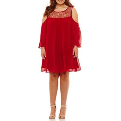 Heart N Soul 3/4 Sleeve A-Line Dress-Juniors Plus