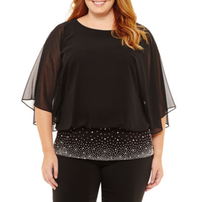 Prelude Short Sleeve Round Neck Woven Blouse-Plus