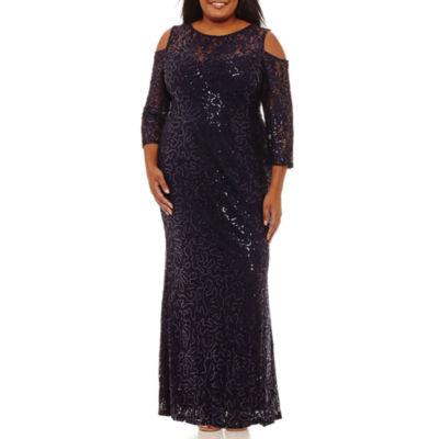 Blu Sage Long Sleeve Cold Shoulder Sequin Evening Gown-Plus