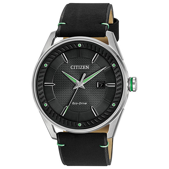 Drive from Citizen Mens Black Leather Strap Watch-Bm6980-08e