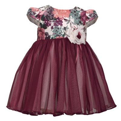 Bonnie Jean Short Sleeve Floral Print Dress - Baby Girls