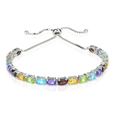Womens Multi Color Stone Sterling Silver Bolo Bracelet