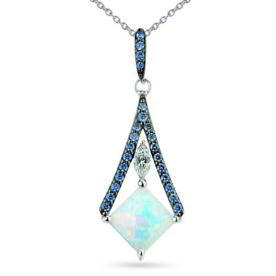 Womens White Opal Sterling Silver Pendant Necklace