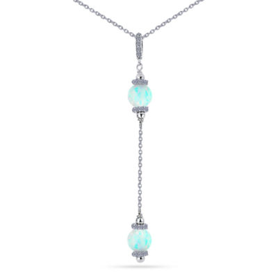 Womens Simulated White Opal Sterling Silver Beaded Necklace