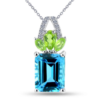 Womens Genuine Blue Blue Topaz Sterling Silver Pendant Necklace
